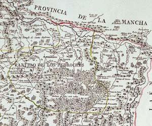 Detalle del mapa geográfico del reino y obispado de Córdoba 1797