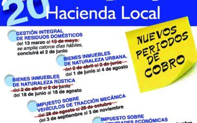 HACIENDA LOCAL. NUEVOS PERIODOS DE COBRO