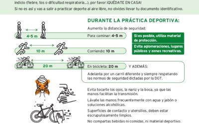 INFORMACIÓN IMPORTANTE COVID-19. RECOMENDACIONES SALIDAS PARA HACER DEPORTE