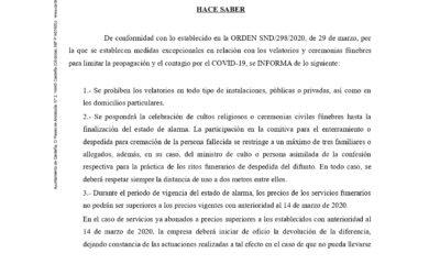 BANDO. VELATORIOS Y CEREMONIAS FÚNEBRES. COVD-19