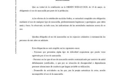 BANDO USO OBLIGATORIO DE MASCARILLA