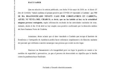 COMUNICADO DE LA ALCALDÍA. CASOS CERO DE CORONAVIRUS EN CARDEÑA